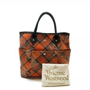 Vivienne Westwood Tote Handbag Orange Tartan Tweed
